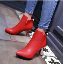 women boots autumn winter warm 2016 new sexy fashion zip pu pointed toe ankle motorcycle boot black red high-heeled Martin shoes(China)