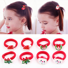 2PCS Hot Christmas Tree Santa Bell Snowman Kids Hair Rope Event Headband Dress up Accessories