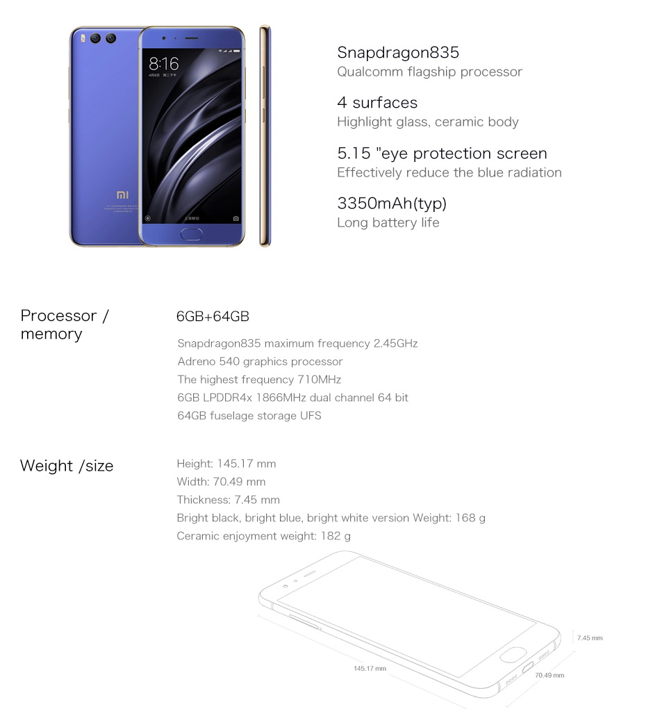 image for Original Xiaomi Mi6 Mobile Phone 6GB RAM 64GB ROM Snapdragon 835 Octa