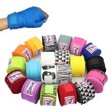 2PCS/Pack 5M Springy Cotton Kick Boxing Bandage Wrist Straps Taekwondo Muay Thai Bandage Hand Gloves Wraps Sports Protective(China)