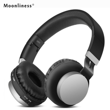 Moonliness 3.5mm Bluetooth Headset Foldable Outdoor Sport Headphone Bass Stereo Wireless Headphones AUX Cable with Mic Music(China)