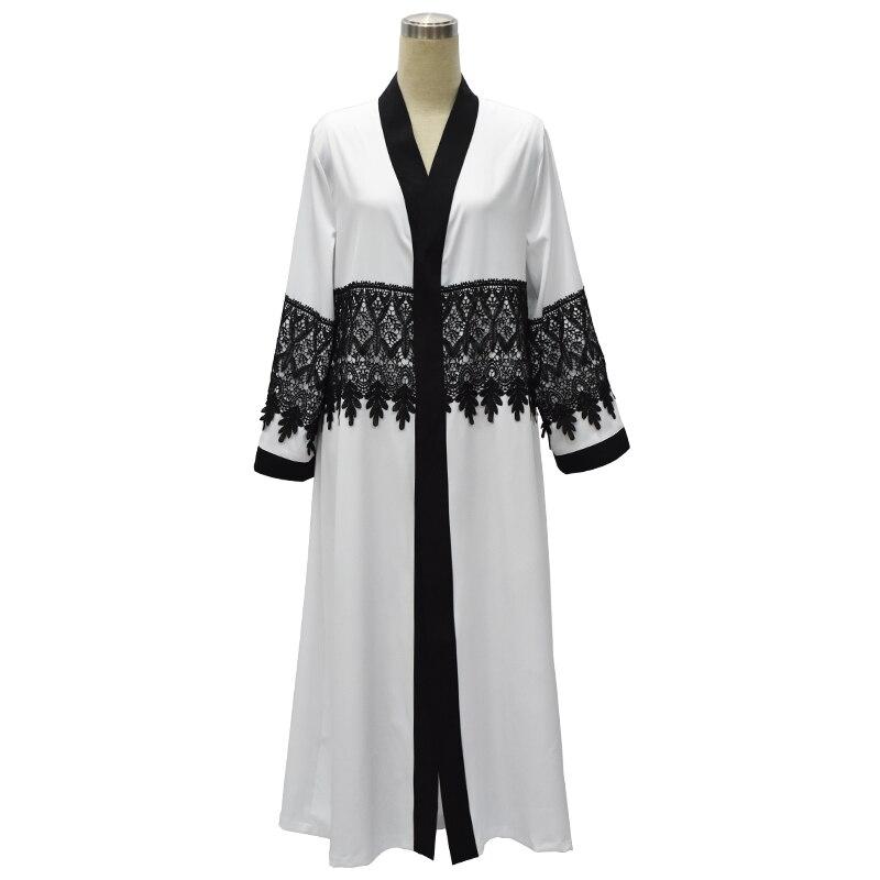 2017 Осень Женщин Мусульманин Платье С Длинным Кардиган Лоскутное Кружевном Платье Исламская Одежда Белый Дубай абая Абая Турецкий халат(China)