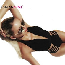 PARAKINI 2017 New Sexy Deep V Neck One Piece Swimsuit Women Bathing Suit Swim Wear Swimwear High Cut Brazilian Monokini Swimsuit(China)