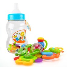 Baby Rattle Teether Toy Set - Wishtime 9pcs Rattle Teether Newborn Toys with Giant Bottle Gift for Baby, Infant, Newborn