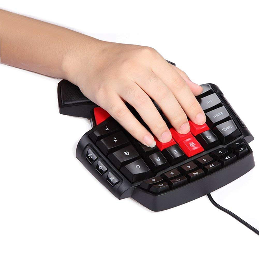 Delux T9 Gaming Keyboard 47 Keys One-hand Wired USB Keypad Double space Bar USB for Left Right Hand