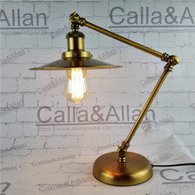 Fashion Adjustable Desk reading light with knob Switch and plug Study lamp brass finished bedroom decoration light bronze