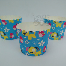 Free Shipping Yellow Cute dog cupcake liners cups cases paper cake mini baking cup decorative wedding birthday party favors