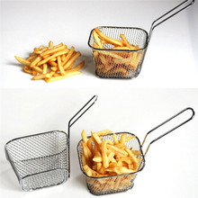 Electroplate Stainless Steel Mini Frying Net Square Block Happy Gifts High Quality Frying Tool for Chips Oct20#2(China)