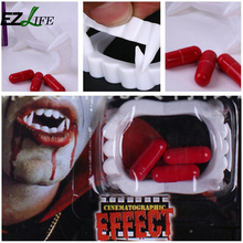EZLIFE Halloween Vampire Funny Party Fancy Costume Fake Teeth Fangs with Blood Pills Party Supplies ZH01202