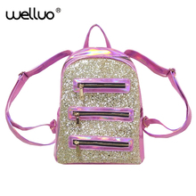 Women Sequined PU Leather Backpack for Teenage Girls Hologram Laser Rucksack Shiny Bling Backpack Pink New Deisgned Bag XA139WB(China)