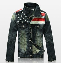 2016 new american flag suit jacket PU leather patchwork distressed antique mens denim jean jacket AY108
