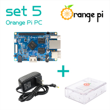 Orange Pi PC SET5 : Orange Pi PC+ Transparent ABS Case+ Power Supply Supported Android, Ubuntu, Debian(China)
