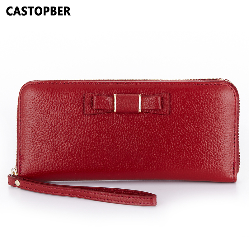 First Layer Cowhide Genuine Leather Women Bow Wallet Full Grain Leather Clutch Wallet Korean Fashion Womens Long Purse Famous<br>