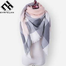 Za Fashion Brand Winter Scarf For Women Scarf Female Plaid Cashmere Scarf Women Warm Square Shawl and Scarves Wholesale/Retail