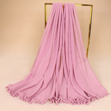 10pcs/lot High Quality solid color plain pom pom shawl women bubble chiffon scarf Islamic muslim hijab long black Scarves(China)