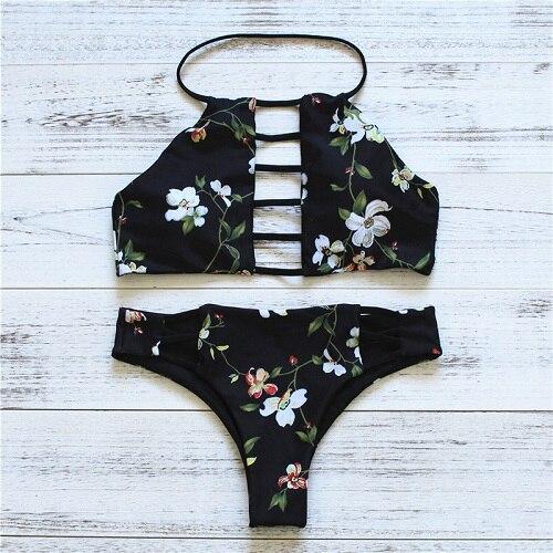 2017 Sexy High Neck Halter Crop Bikinis Women Swimsuit Bandage Swimwear Print Bikini Set Brazilian Bathing Suit Swim Wear<br><br>Aliexpress