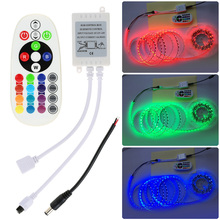 IR Remote Control Box Kit 24 Key DC12-24V 16 Colors 4 Modes for 5050 3528 LED RGB RGB Strip Light with Remote Control DC Cable(China)