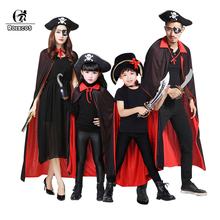 ROLECOS Pirate Halloween Costume Parent-Child Costume for Family Azrael Death Cosplay Witch Halloween Pumkin Masquerade Party(China)