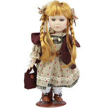 Long Braids Travel Girl 12'' 31 cm Ceramic Doll with Skirt Vivid Ethnic Kits Model Porcelain Doll Toy Playmates Fashion Gifts