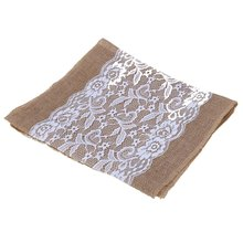 NEW Vintage Burlap Wedding Decoration Lace Beautiful Table Runner Original Ecology Style White Natural Jute Country Party