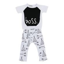 2017 Summer Baby Boys Girls clothes Cotton short Sleeve letter T-shirt + pants 2pcs Infant clothing newborn clothes baby garment