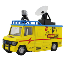 Free shipping high quality pull back satellite broadcast vehicle die cast car for children