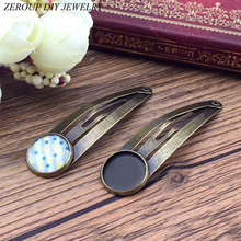 ZEROUP 12mm 10pcs Silver Copper Hair Clips Antique Bronze Brass Plated Hairpin Cameo Glass Cabochons Base Supplies for Jewelry