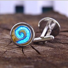 WoW World of Warcraft Hearthstone Men Suits Shirt Cuff Links Silver Plated Glass Cabochon Wedding Cuff Accessories(China)