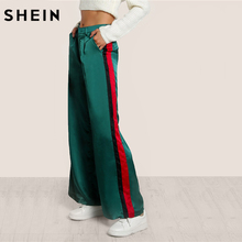 SHEIN Striped Side Tailored Wide Leg Pants Green High Waisted Pants Zipper Fly Casual Trousers Elegant Loose Pants(China)
