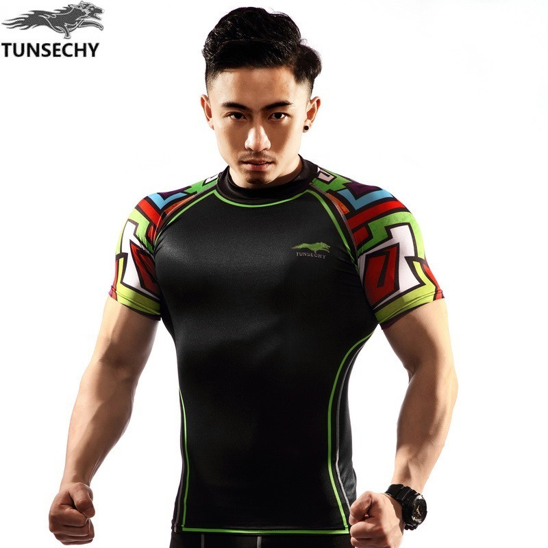 NEW Mens Compression Shirts Bodybuilding Skin Tight Short Sleeve Jerseys TUNSECHY brand Crossfit Outdoor sports bike t Shirt 13