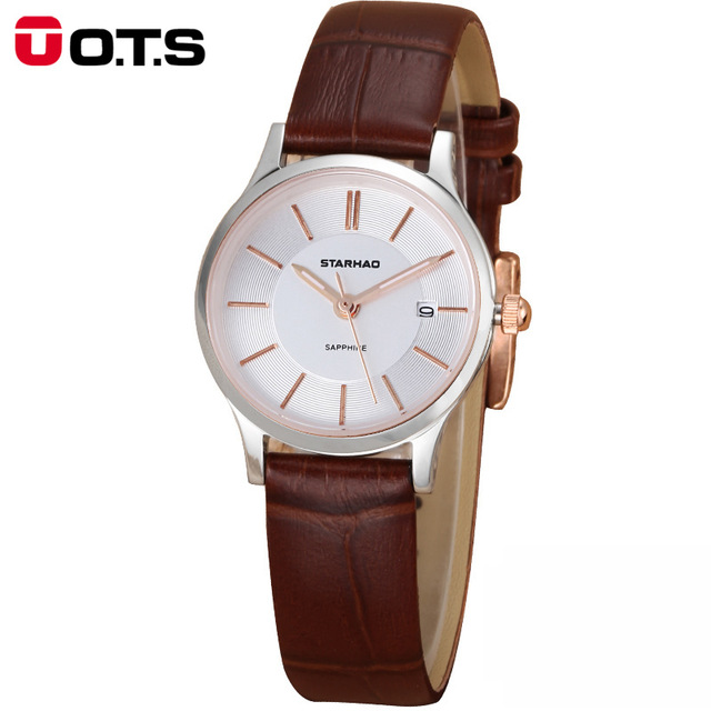OTS Ladies Fashion Quartz Watch Women Sapphire mirror Leather Casual Dress Womens Watch Rose Gold reloje mujer montre femme<br>