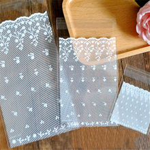 (300pieces/lot) White lace Self Adhesive Seal Bakery Bread Plastic Cookies Bags Gift Cellophane Bags Candy Bags Wholesale