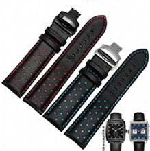 20mm 22mm Men Women Real Cowhide Leather Handmade Black Red Blue Replacement Wrist Watch Band Strap Double Push Deployment Clasp(China)