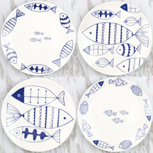 blue plate restaurant breakfast tray Cute little fish plate plate pottery dish diameter 20(China)