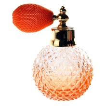 110ML Orange Glass Crystal Women Unique Refillable Perfume Bottle Mesh Atomizer Bulb Short Spray Pump Scented Fragrance Atomizer