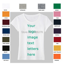 Women's Plain T Shirt Custom Personalized Text / Logo /picture / Family / Best Friend / College / Company Short Sleeve T-Shirt(China)