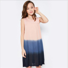 2017 Big Babies Ombre Dresses Teenager Fashion Ruffle Dress Junior Summer Casual Dress Childrens clothing(China)