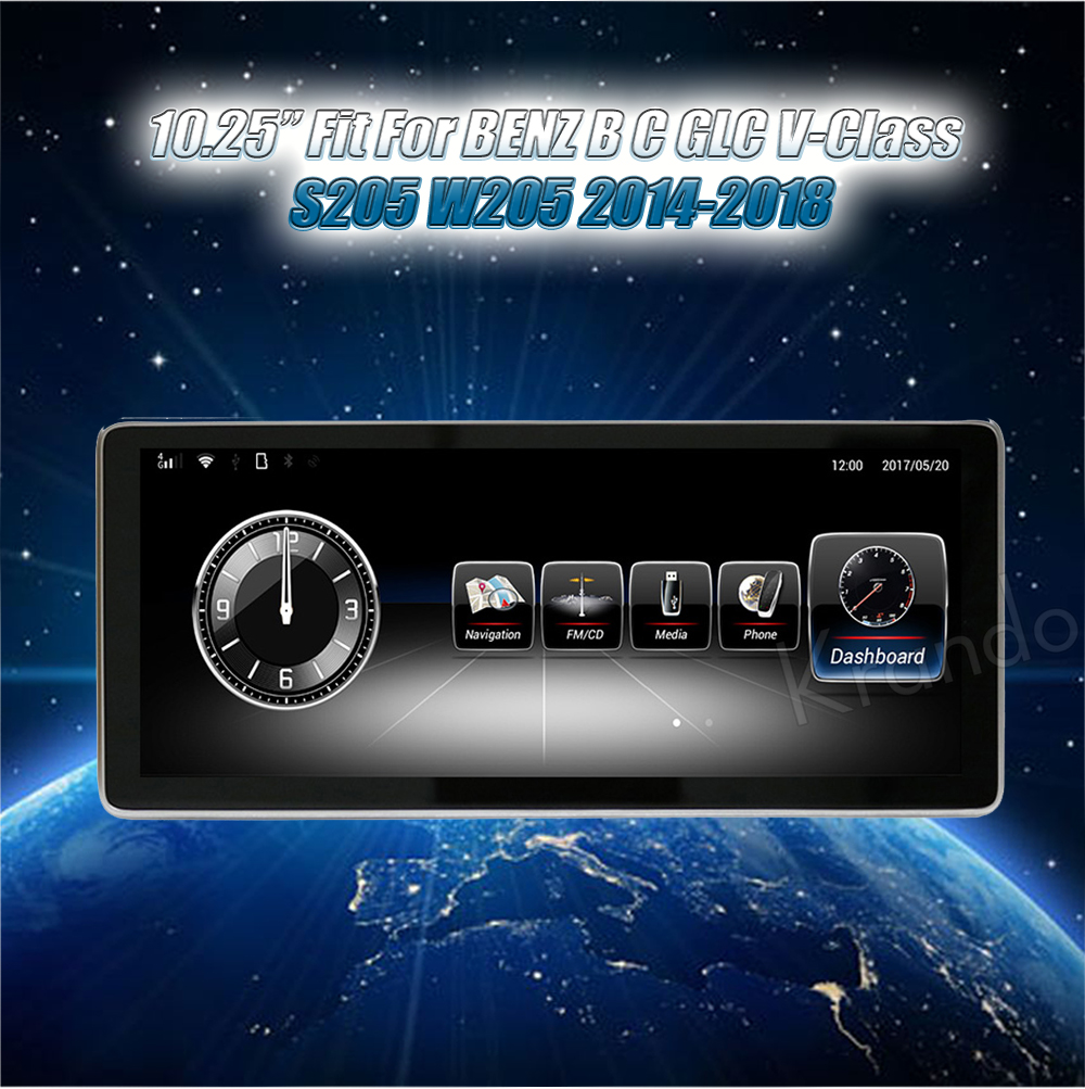 Krando 10.25'' android car radio multimedia for BENZ B C GLC V-Class S205 W205 2014-2018 Big screen navigation with gps system (6)
