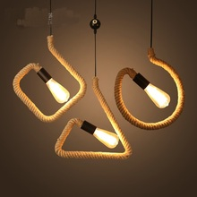 Retro industry Pendant lights retro rope creative garden restaurant bar farmhouse decorative lamp character study