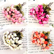 Artificial Red Rose Spring Silk Flowers 18 Flower Heads Camellia Magnolia Floral Wedding Peony Bouquet Decor