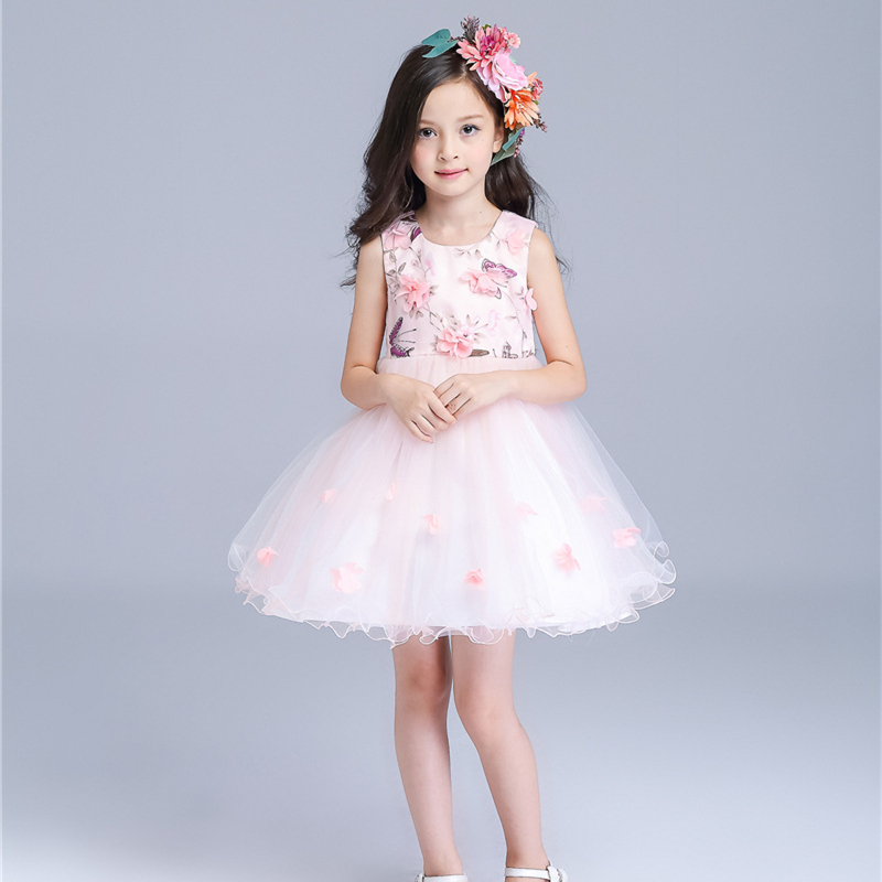 2-10Yrs Fresh New Pink Princess Girls Sleeveless Flowers Lace Bowknot Decor  O-neck Ball Gown Lovely Wedding Formal Dress<br>