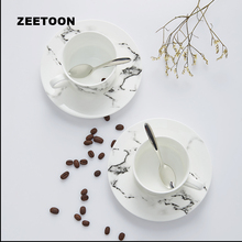 225ML European Style Bone China Coffee Mug Simple  Creative Ink Painting Milk Cup Office Ceramics with Saucer and SpoonTea Sets