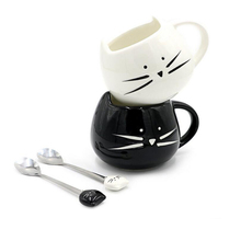 UzeQu Cute Ceramic Coffee Mug Black and White Milk Tea Cups and Mugs Creative Cat Mugs with Spoon Unique Christmas Gift