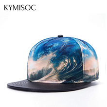 New Fashion Hip-Hop Hat Waves 3D Heat Transfer Process Topped Baseball Cap Flat Hats Ocean Pattern