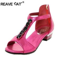 REAVE CAT Big size 31-48 Summer shoes Ladies sandal flats Woman shoes Sequined Rhinestone PU Gold Blue Black Red Fashion Sweet(China)