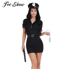 Buy Policewoman Halloween Cosplay Uniform Set Costume Dress Belts Handcuffs Spontoon Stretchy Theater Role Play Sexual Flirting