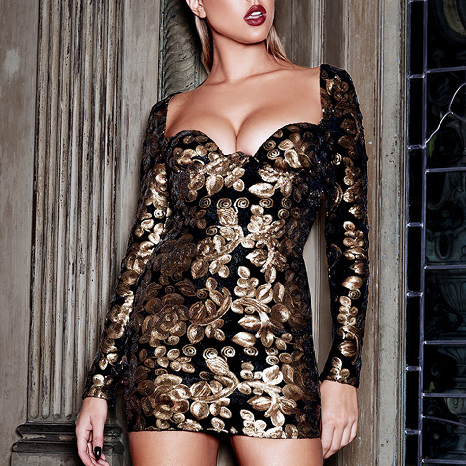 Evening Party Mini Dress For Women New V Neck Sexy Club  Dresses Autumn Long Sleeve Celebrity Black Female Clothing