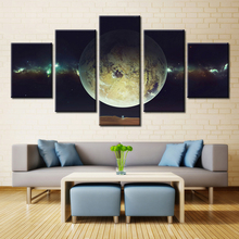 Forbeauty 5 Piece Canvas Painting Wall Art Picture Venus is the planet Saturn sky dark night sky nebula