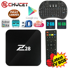 Chycet Z28 Tv box Android 7.1 TV Box RK3328 Cortex A53 1GB/8GB 2GB/16G H.265 3D 4K USB 3.0 WiF Smart tv box Media player PK X96(China)