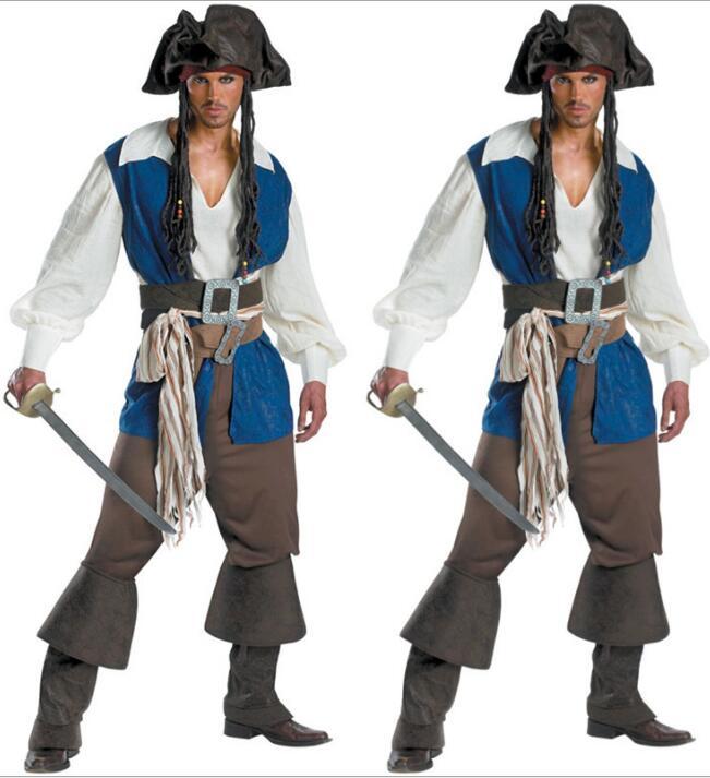 Mens Deluxe High Seas Caribbean Pirate Jack Captain Adult Fancy Dress Costume